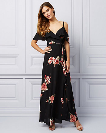 Floral Print Cold Shoulder Ruffle Gown