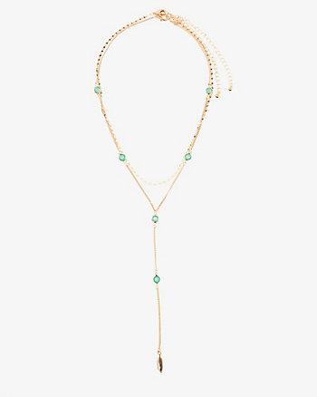 Set of Two Gem Y-Necklaces