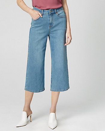 High Waist Stretch Denim Culotte