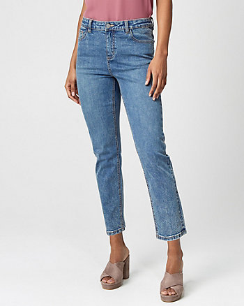 Stretch Denim Regular Rise Straight Pant