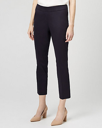 Stretch Cotton Sateen Slim Leg Pant