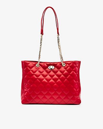 Leather-Like Quilted Tote Bag