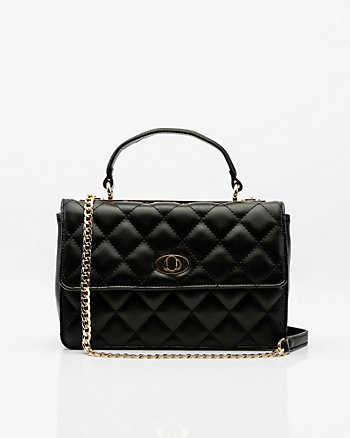 Leather-Like Quilted Crossbody Bag