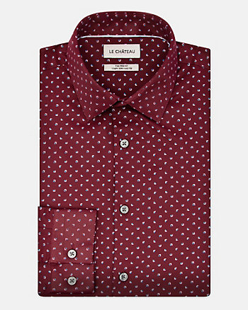 Geo Print Cotton Blend Tailored Fit Shirt