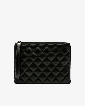 Faux Leather Quilted Pouch