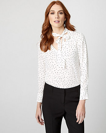 Polka Dot Print Tie Neck Blouse