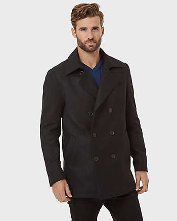 Melton Wool Blend Tailored Peacoat