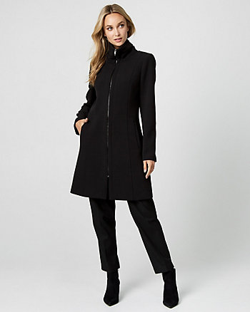 Double Weave Funnel Neck Coat