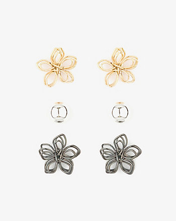 Set of Three Metal Stud Earrings