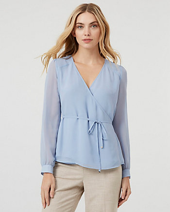 Chiffon Wrap-Like Bishop Sleeve Blouse