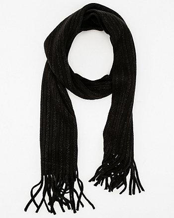 Metallic Knit Fringe Scarf