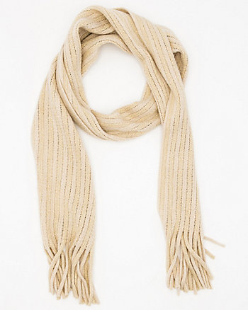 Metallic Knit Fringe Scarf