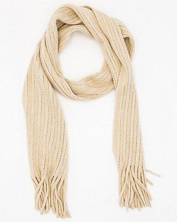 Écharpe à franges en tricot métallisé