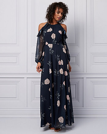 Floral Print Chiffon Cold Shoulder Gown
