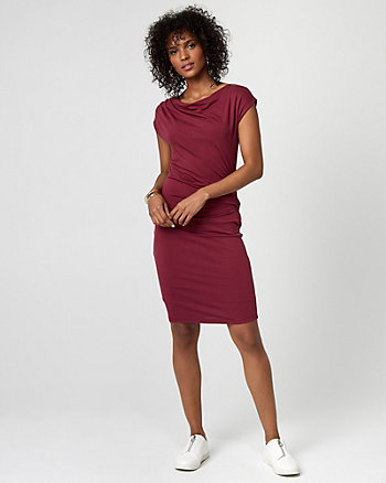 Jersey Cowl Neck Pleated Dress
