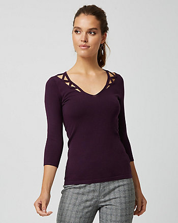 Viscose Blend Cutout Sweater