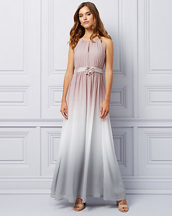 Ombré Chiffon Halter Gown