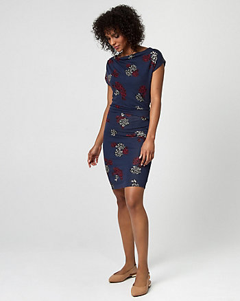 Floral Print Jersey Cowl Neck Pleated Dress