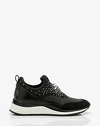 Jewel & Pearl-Like Slip On Sneaker