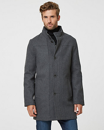 Melton Wool Mock Neck Top Coat