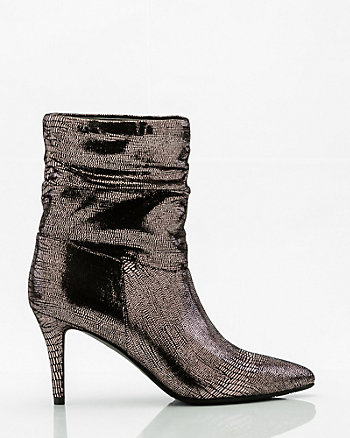 Lizard Embossed Pointy Toe Slouch Boot