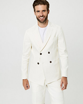 Linen Blend Stripe Double Breasted Blazer
