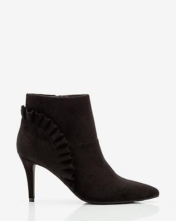 Velvet Ruffle Ankle Boot