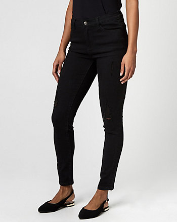 Distressed Denim Regular Rise Skinny Pant
