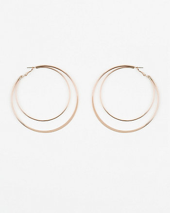 70mm/87mm Metal Double Hoop Earrings