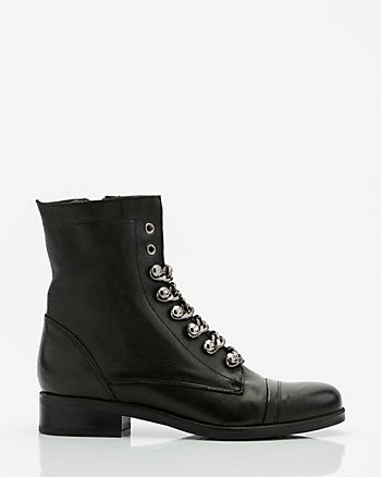 Italian-Made Leather & Chain Combat Boot
