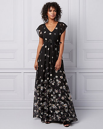 Floral Chiffon Flutter Sleeve Gown
