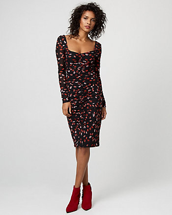 Lips Print Knit Sweetheart Dress
