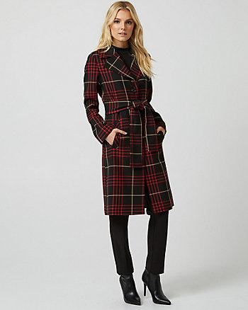 Check Print Viscose Blend Notch Collar Coat