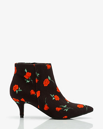 Floral Print Pointy Toe Ankle Boot