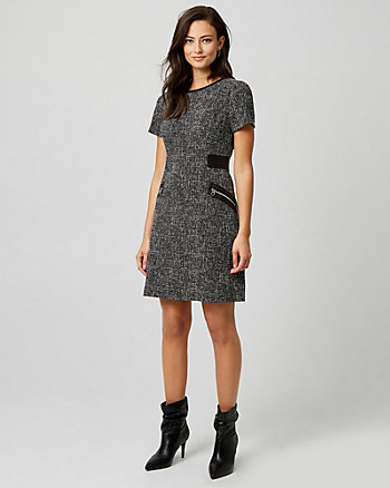 Tweed Crew Neck Shift Dress