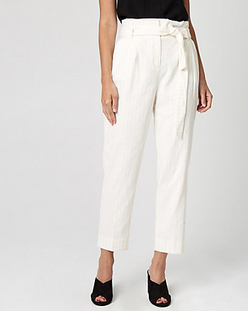 Stripe Linen Blend Paper Bag Pant