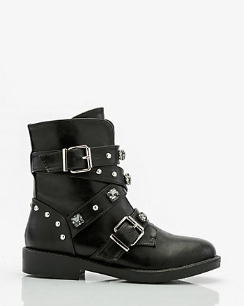 Studded Round Toe Biker Boot
