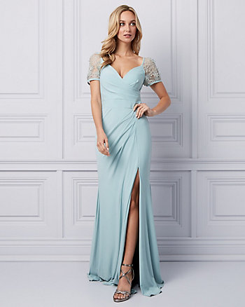 3D Floral Wrap-like Gown
