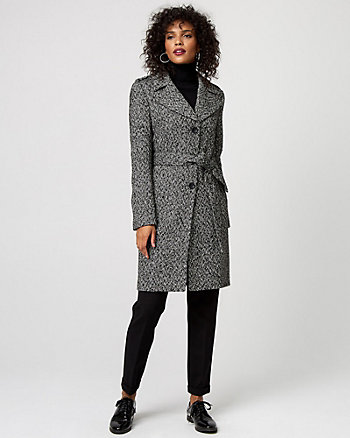 Herringbone Wool Blend Notch Collar Coat