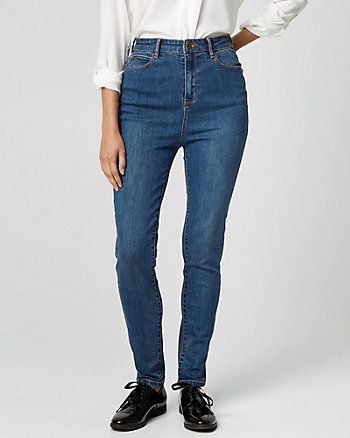 Cotton Denim Skinny Leg Pant
