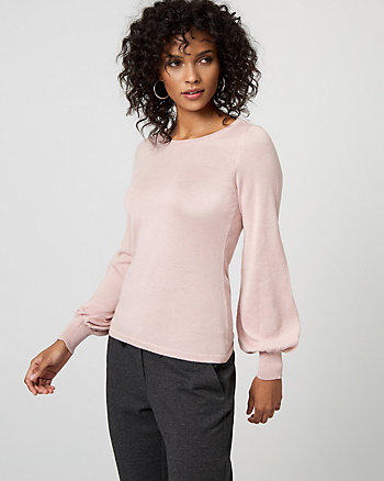 Viscose Blend Bishop Sleeve Sweater