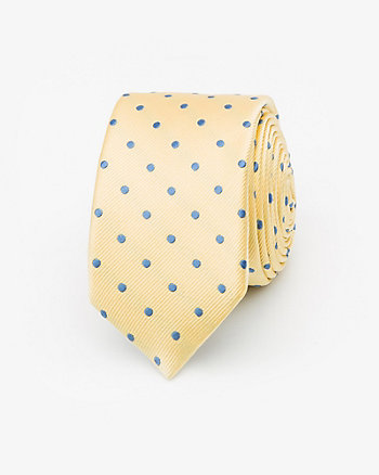 French-Made Dot Print Silk Tie