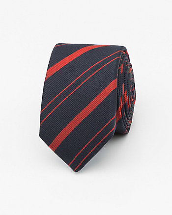 French-Made Stripe Silk Skinny Tie