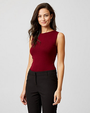 Viscose Blend Boat Neck Sweater Tank