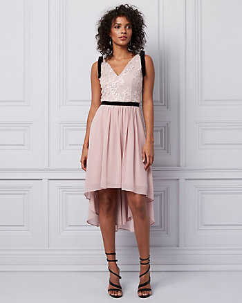 Embroidered Chiffon High-Low Dress