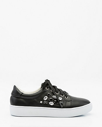 Jewel-Embellished Lace-Up Sneaker