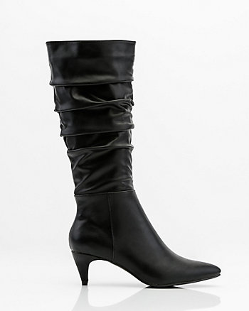 Pointy Toe Kitten Heel Slouch Boot