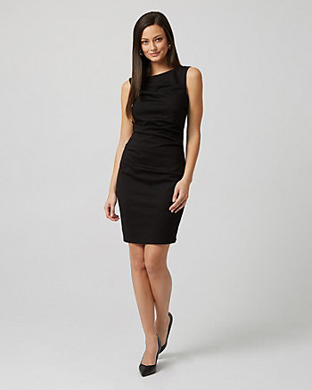 Ponte Knit Pleated Sheath Dress