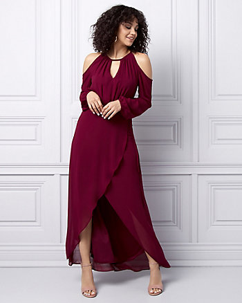Chiffon Cold Shoulder Wrap-Like Gown