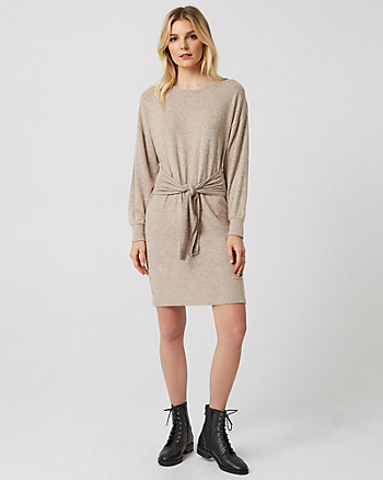 Knit Crew Neck Tie Front Tunic Dress